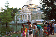 SPAIN, MADRID, RECREATION Retiro Park; huge park in the heart of the city; a favorite Sunday destination; the Crystal Palace glass pavilion