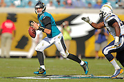 Jacksonville Jaguars quarterback Chad Henne (7) during an NFL game against the San Diego Chargers at EverBank Field on Oct. 20, 2013 in Jacksonville, Florida. San Diego won 24-6.<br /> <br /> ©2013 Scott A. Miller