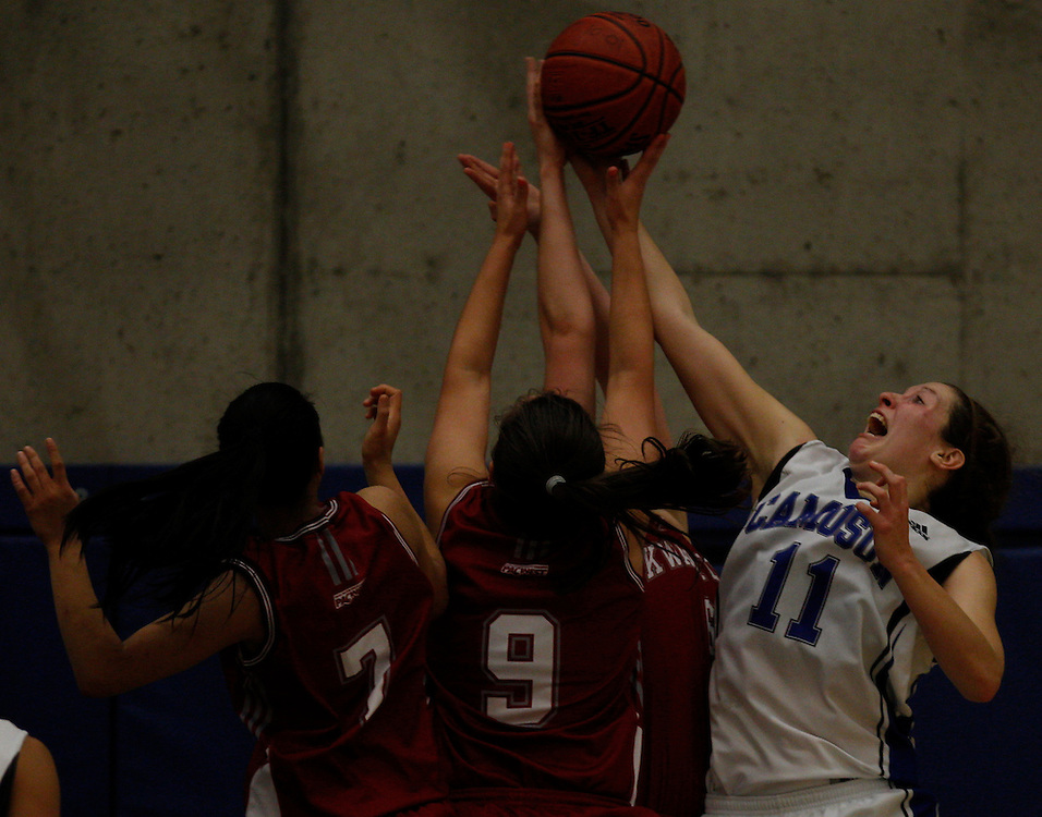 In Pacific Western Athletic Association Women's Basketball action the Kwantlen College Eagles beat the Camosun College Chargers in overtime by a score of 64-59
