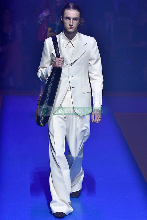 Model Tadas Karosas walks on the runway during the Gucci Fashion Show during Milan Fashion Week Spring Summer 2018 held in Milan, Italy on September 20, 2017. (Photo by Jonas Gustavsson/Sipa USA)