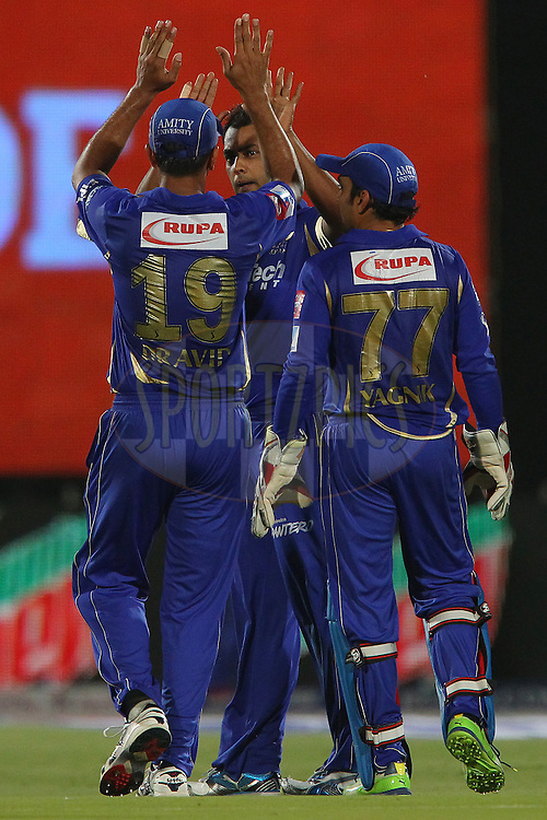 Stuart Binny celebrates the wicket of Michael Hussey  during match 61 of the Pepsi Indian Premier League ( IPL) 2013  between The Rajasthan Royals and the Chennai SUperkings held at the Sawai Mansingh Stadium in Jaipur on the 12th May 2013..Photo by Ron Gaunt-IPL-SPORTZPICS ..Use of this image is subject to the terms and conditions as outlined by the BCCI. These terms can be found by following this link:..http://www.sportzpics.co.za/image/I0000SoRagM2cIEc