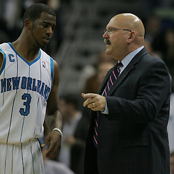 Jan 02, 2010; New Orleans, LA, USA; New Orleans Hornets head coach Jeff Bower talks to guard Chris Paul (3) during a game against the Houston Rockets at the New Orleans Arena. The Hornets defeated the Rockets 99-95.  Mandatory Credit: Derick E. Hingle-US PRESSWIRE