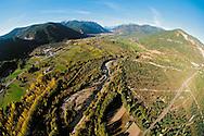 Aerial view of the Aragonese Pyrenees. Huesca, Aragon, Spain