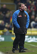 28/02/2004  -  Nationwide Div 1 Watford v Wimbledon.Watford manager ray Lewington, shut's his eyes, as he watches the game.