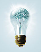 light bulb with brain inside