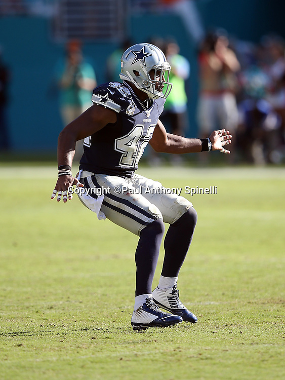 Dallas Cowboys strong safety Barry Church (42) makes a move in pass coverage during the 2015 week 11 regular season NFL football game against the Miami Dolphins on Sunday, Nov. 22, 2015 in Miami Gardens, Fla. The Cowboys won the game 24-14. (©Paul Anthony Spinelli)