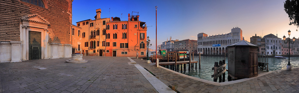 A panoramic view at sunset of Campo San Marcuola and the facade of San Marcuola church facing the Grand Canal. Taken on an evening of mid January, this is stitche from twelve vertical frames.