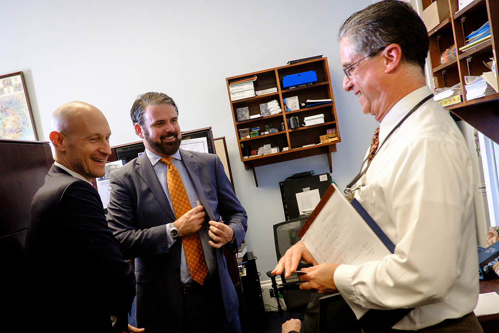 Following Vestwell CEO Aaron Schumm, CCO Mike Shuckerow and Special ERISA Advisor, Peter Kennedy, as they visit with a staffer for Rep. Vicente Gonzalez (D-TX) on Capitol Hill.