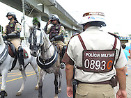 Mounted and military Police outside the stadium prior to the 2014 FIFA World Cup match at the Itaipava Arena Fonte Nova, Nazare, Bahia<br /> Picture by Stefano Gnech/Focus Images Ltd +39 333 1641678<br /> 05/07/2014