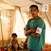 Care assistant, Sidi Mohamed Ag Mohamed Mahmoud, at a Médecins Sans Frontières (MSF) health centre at the Mbera camp for Malian refugees in Mauritania, on 5 March 2013.
