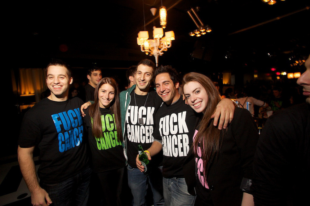 A great cause needs a good party. The Fuck Cancer fundraiser at Newtown features 5 different color T-Shirts as an entrance fee. Each color signifies a different cancer and all proceeds go to research each... Teal for Ovarian.Pink for Breast.White for Lung.Lime for Lymphoma.Royal Blue for Colon
