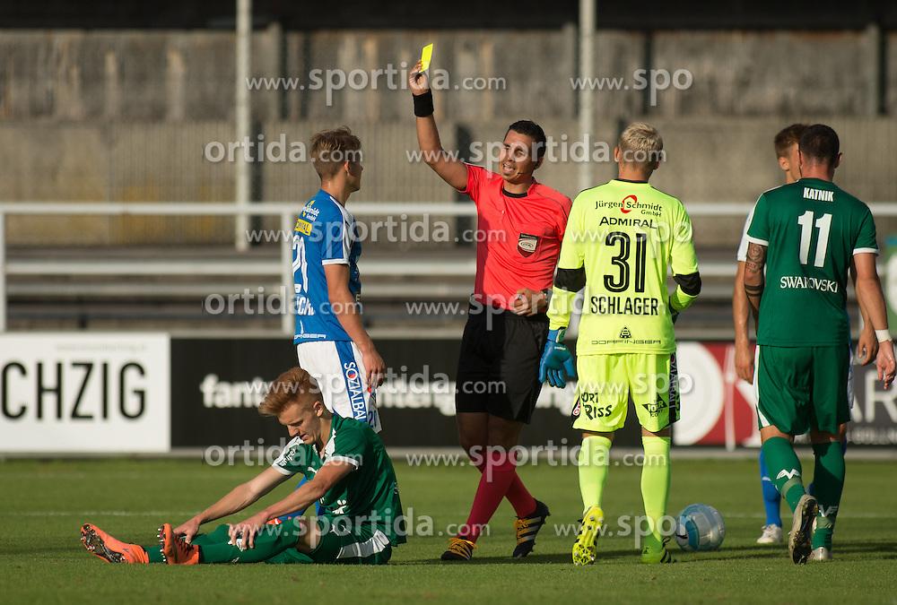 29.07.2016, Gernot Langes Stadion, Wattens, AUT, 2. FBL, WSG Wattens vs Floridsdorfer AC, 2. Runde, im Bild v.l.n.r.: Christian Gebauer (WSG Wattens), Stefan Krickl (Floridsdorfer AC), Schiedsrichter und Lukas Katnik (WSG Wattens) // during second Austrian Bundesliga 2nd round match between WSG Wattens and Floridsdorfer AC, at the Gernot Langes Stadion in Wattens, Austria on 2016/07/29. EXPA Pictures © 2016, PhotoCredit: EXPA/ Jakob Gruber