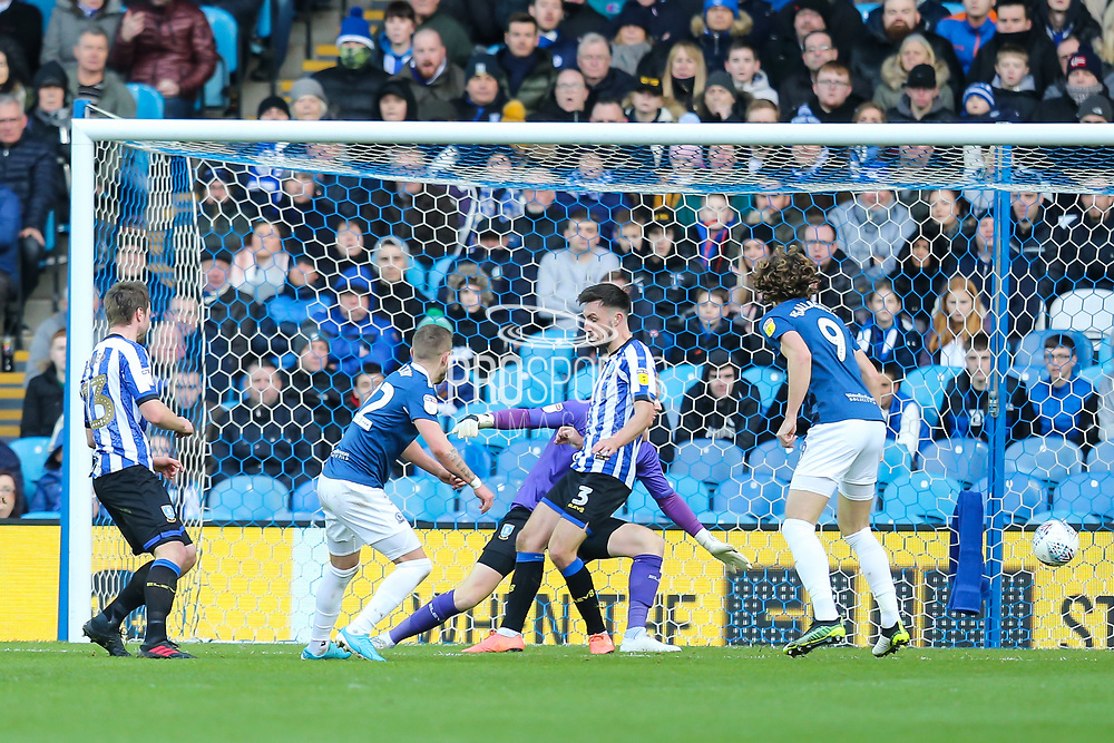 GOAL! Blackburn Rovers midfielder Lewis Holtby (22) scores his team's first goal during the EFL Sky Bet Championship match between Sheffield Wednesday and Blackburn Rovers at Hillsborough, Sheffield, England on 18 January 2020.