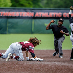 Texas Southern infielder Gaudencio Lucca (21) is tagged out by Alabama State infielder Eriq White (10) during the top of the fourth inning of the SWAC baseball championship final in New Orleans, La. Sunday, May 21, 2017.