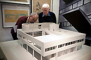 UK. London. The Barbican Centre, a collection of residential apartments, galleries, concert halls and cinemas. The Barbican Gallery is holding a Le Corbusier exhibition..Photo shows the Le Corbusier exhibition in the Barbican Art Gallery..Photos ©Steve Forrest