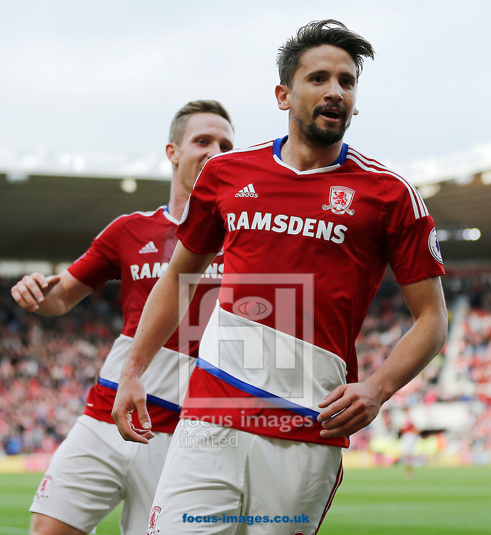 Gaston Ramirez (r) of Middlesbrough celebrates scoring the opening goal during the Premier League match at the Riverside Stadium, Middlesbrough<br /> Picture by Simon Moore/Focus Images Ltd 07807 671782<br /> 29/10/2016