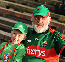 Willie McLoughlin from Castlebar with his grandson Luke enjoying the Mayo and Kildare match at McHale Park.<br /> Pic Conor McKeown