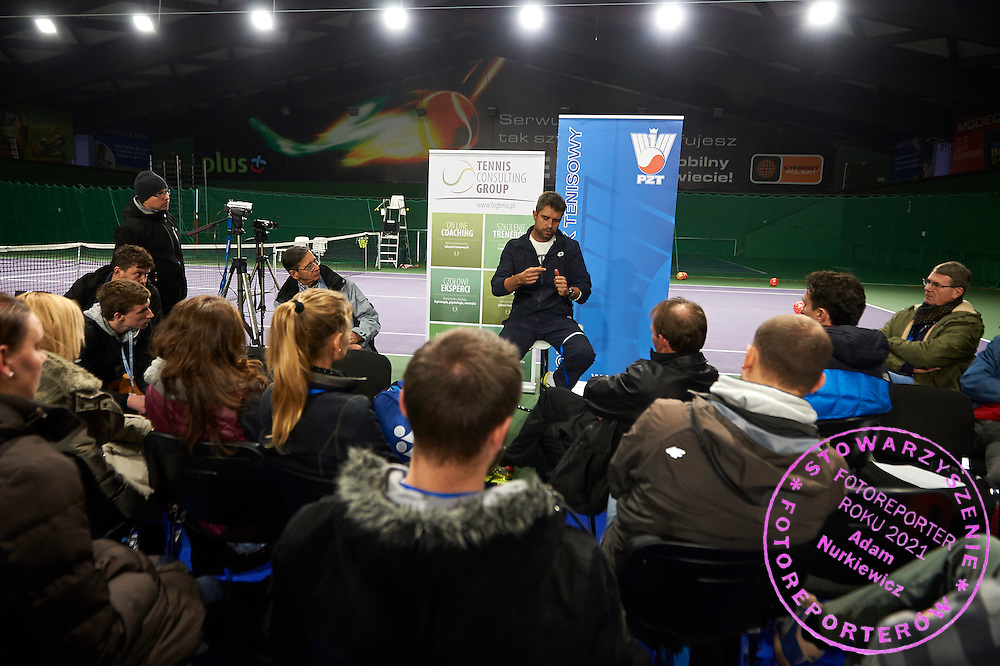 Tomasz Wiktorowski trainer coach of Agnieszka Radwanska speaks during PZT - Trainer's Conference of Polish Tennis Association at Mera Hall in Warsaw, Poland.<br /> <br /> Poland, Warsaw, November 28, 2015<br /> <br /> Picture also available in RAW (NEF) or TIFF format on special request.<br /> <br /> Any editorial, commercial or promotional use requires permission.<br /> <br /> Adam Nurkiewicz declares that he has no rights to the image of people at the photographs of his authorship.<br /> <br /> Mandatory credit:<br /> Photo by &copy; Adam Nurkiewicz / Mediasport