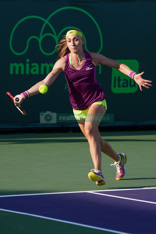 March 20, 2018 - Key Biscayne, FL, U.S. - KEY BISCAYNE, FL - MARCH 20: Aleksandra Krunic (SRB) competes during the qualifying round of the 2018 Miami Open on March 20, 2018, at Tennis Center at Crandon Park in Key Biscayne, FL. (Photo by Aaron Gilbert/Icon Sportswire) (Credit Image: © Aaron Gilbert/Icon SMI via ZUMA Press)