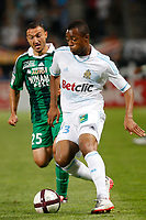 FOOTBALL - FRENCH CHAMPIONSHIP 2011/2012 - L1 - OLYMPIQUE DE MARSEILLE v AS SAINT ETIENNE - 21/08/2011 - PHOTO PHILIPPE LAURENSON / DPPI - STEED MALBRANQUE (ASSE) / JORDAN AYEW (OM)