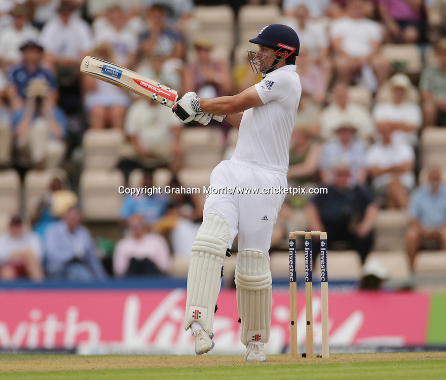 Alastair Cook bats during the third Investec Test Match between England and India at the Ageas Bowl, Southampton. Photo: Graham Morris/www.cricketpix.com (Tel: +44 (0)20 8969 4192; Email: graham@cricketpix.com) 27/07/14
