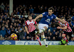 LIVERPOOL, ENGLAND - Monday, January 2, 2017: Everton's Leighton Baines scores the second goal with a penalty against Southampton during the FA Premier League match at Goodison Park. (Pic by Gavin Trafford/Propaganda)