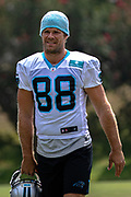 Carolina Panthers tight end Greg Olsen (88) walking on to the field during training camp at Wofford College, Sunday, August 11, 2019, in Spartanburg, S.C. (Brian Villanueva/Image of Sport)