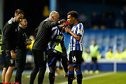 Lee Bullen of Sheffield Wednesday gives instructions to Jacob Murphy of Sheffield Wednesday during the EFL Sky Bet Championship match between Sheffield Wednesday and Luton Town at Hillsborough, Sheffield, England on 20 August 2019.