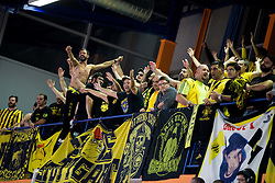 Supporters of Aris during basketball match between KK Helios Suns (SLO) and Aris B.S.A.-2003 (GRE) in Round #1 of FIBA Champions League 2016/17, on October 18, 2016 in Sports arena Domzale, Slovenia. Photo by Vid Ponikvar / Sportida