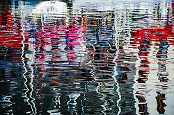 Reflections in the harbour at Honfleur, Normandy, France