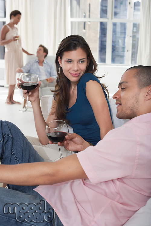 Young couples drinking wine in living room