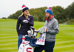 Auchterarder, Scotland, UK. 12 September 2019. Final practice day at 2019 Solheim Cup on Centenary Course at Gleneagles. Pictured; Lexi Thompson with her caddie. Iain Masterton/Alamy Live News