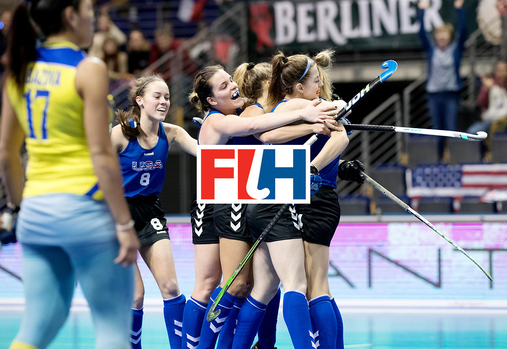 BERLIN - Indoor Hockey World Cup<br /> Women: United States - Kazakhstan<br /> foto: USA celebrate.<br /> WORLDSPORTPICS COPYRIGHT FRANK UIJLENBROEK