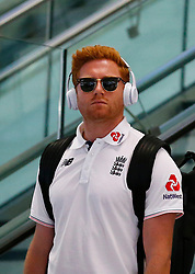 England's Jonny Bairstow as the team arrive at Adelaide Airport.
