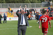 John Coleman, Manager of Accrington Stanley celebrates the win during the EFL Sky Bet League 2 match between Accrington Stanley and Mansfield Town at the Fraser Eagle Stadium, Accrington, England on 19 August 2017. Photo by John Potts.