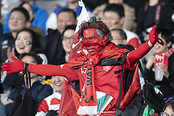 November 1, 2019, Tokyo, Japan: A fan of Wales team cheers before start the Rugby World Cup 2019 Bronze Final between New Zealand and Wales at Tokyo Stadium. New Zealand defeats Wales 40-17. (Credit Image: © Rodrigo Reyes Marin/ZUMA Wire)