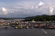 The Kampong Ayer, or floating village, built on wooden stilts