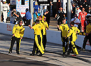 Nov. 12 2011; Avondale, AZ, USA; The crew of NASCAR Nationwide Series driver Sam Hornish Jr. celebrates after he won the Wypall 200 at Phoenix International Raceway. Mandatory Credit: Jennifer Stewart-US PRESSWIRE