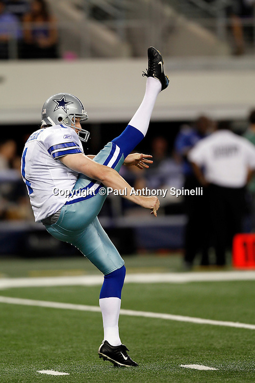 Dallas Cowboys punter Mat McBriar (1) punts during the NFL week 7 football game against the New York Giants on Monday, October 25, 2010 in Arlington, Texas. The Giants won the game 41-35. (©Paul Anthony Spinelli)