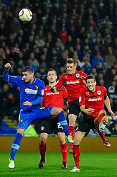 Cardiff Midfielder Craig Noone (ENG) heads for goall missing during the second half of the match - Photo mandatory by-line: Rogan Thomson/JMP - Tel: Mobile: 07966 386802 23/10/2012 - SPORT - FOOTBALL - Cardiff City Stadium - Cardiff. Cardiff City v Watford - Football League Championship