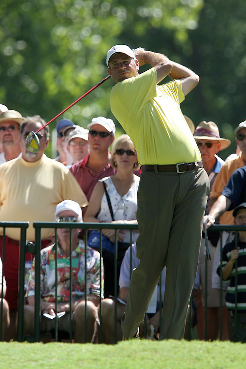 09 August 2007: Stewart Cink tees off on the 2nd hole during the first round of the 89th PGA Championship at Southern Hills Country Club in Tulsa, OK.