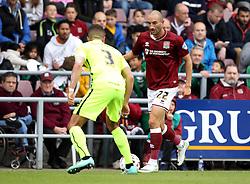 Chris Hackett of Northampton Town takes on Jake Carroll of Hartlepool United - Mandatory byline: Robbie Stephenson/JMP - 07966 386802 - 10/10/2015 - FOOTBALL - Sixfields Stadium - Northampton, England - Northampton Town v Hartlepool - Sky Bet League Two