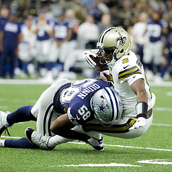 Sep 29, 2019; New Orleans, LA, USA; Dallas Cowboys defensive end Robert Quinn (58) sacks New Orleans Saints quarterback Teddy Bridgewater (5) during the first quarter at the Mercedes-Benz Superdome. Mandatory Credit: Derick E. Hingle-USA TODAY Sports