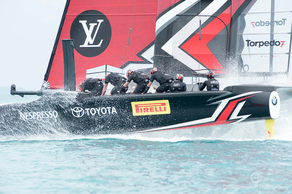 The Great Sound, Bermuda. 3rd June 2017. Emirates Team New Zealand lose to Oracle Team USA in their second race of the America's Cup Qualifiers and so Oracle win the Qualifiers and take a point forward to the America's Cup final.