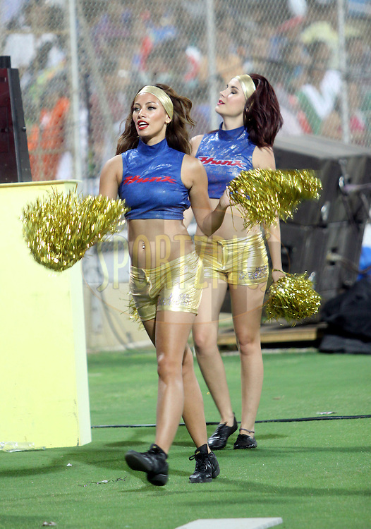 Cheer Leaders of Mumbai Indians during  match 44 of the Indian Premier League ( IPL ) Season 4 between the Pune Warriors and the Mumbai Indians held at the Dr DY Patil Sports Academy, Mumbai India on the 4th May 2011..Photo by Sandeep Shetty/BCCI/SPORTZPICS.