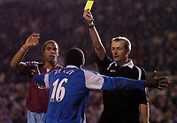 Photo: Glyn Thomas.<br />Birmingham City v West Ham United. The Barclays Premiership. 05/12/2005.<br /> Birmingham's Emile Heskey (C) thinks he has equalised but referee Mike Atkinson shows him the yellow card instead.