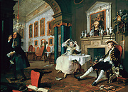 Marriage a la Mode: The Tete a Tete', 1743.Oil on canvas.Wiliam Hogarth (1697-1764) English painter and printmaker.  Couple bored with each other. Second image of satirical moral series on aristocratic marriage arranged for money.