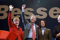 12 JAN 2003, BRAUNSCHWEIG/GERMANY:<br /> Angela Merkel, CDU Bundesvorsitzende, Christian Wulff, CDU Landesvorsitzender Niedersachsen, seine Ehefrau Christiane Wulff, (v.L.n.R.), Wahlkampfauftakt der CDU Niedersachsen zur Landtagswahl, Volkswagenhalle<br /> IMAGE: 20030112-01-001<br /> KEYWORDS: Spitzenkandidat