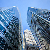 Chicago downtown city office buildings looking upward to the sky low angle view