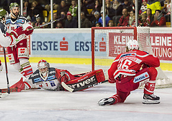 18.3.2018, Stadthalle, Klagenfurt, AUT, EBEL, EC KAC vs HCB Südtirol, 5. Viertelfinalspiel Playoff, im Bild Mike Angelidis (HCB-Südtirol Alperia, #10), Pekka Toukkola (HCB-Südtirol Alperia, #3), Johannes Bischofberger (EC KAC, #46) // during the Erste Bank Eishockey League 5th Quaterfinal match between EC KAC vs HCB Südtirol at the City Hall in Klagenfurt, Austria on 2018/03/18. EXPA Pictures © 2018, PhotoCredit: EXPA/ Gert Steinthaler